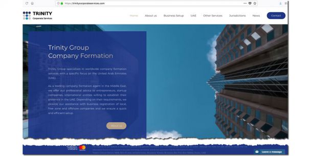 The new Trinity Corporate Services website is online: Your company abroad, with focus in Dubai and in the UAE